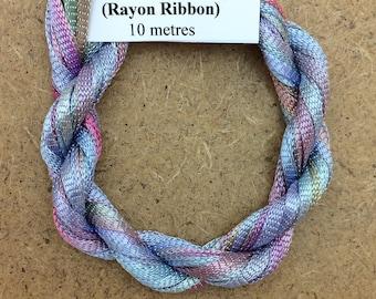 Hand Dyed Viscose Ribbon, Colour No.80 Sky Blue Pink, 10m (11 yards), 10/167 Viscose Ribbon, Rayon Ribbon, Embroidery, Thread, Canvaswork