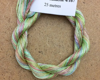 Viscose Chainette 4/167, Colour No.39 Pistachio, Hand Dyed Thread, Rayon Ribbon, 25 metres