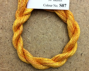 Silk Flamme No.07 Yellow Ochre, Hand Dyed Embroidery Thread, Artisan Thread, Textile Art, No.07 Yellow Ochre
