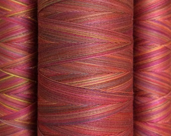 Hand Dyed Cotton Machine Quilting or Embroidery, Thread, Colour No.02 Antique Red, Eygyptian Cotton 40wt., 150m (162yds) or 750m (820yds)