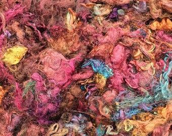 Silk Throwsters Waste, Silk Filament Waste, Hand Dyed Mulberry Silk Waste Fibre, Colour - Mixed