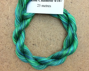 Viscose Chainette 4/167, Colour No.20 Jade, Hand Dyed Thread, Rayon Ribbon, 25 metres