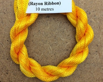 Hand Dyed Viscose Ribbon, Colour No.51 Daffodil, 10m (11 yards), 10/167 Viscose Ribbon, Rayon Ribbon, Embroidery, Thread, Canvaswork
