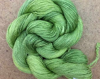 Silk Flamme, Hand Dyed Silk Yarn, Weaving Yarn, Crochet Yarn, No.82 Chartreuse