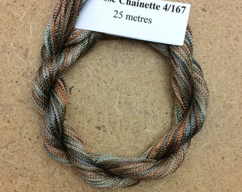 Viscose Chainette 4/167, Colour No.21 Rust, Hand Dyed Thread, Rayon Ribbon, 25 metres