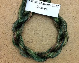 Viscose Chainette 4/167, Colour No.15 Sludgy Green, Hand Dyed Thread, Rayon Ribbon, 25 metres
