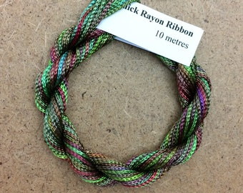 Thick Viscose Ribbon 3/660, Colour No.09 Apple, Hand Dyed Embroidery Thread, Needlepoint