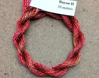Hand Dyed 3600/2 Viscose Cord, Colour No.13 Sunset, Rayon II, Embroidery, Thread, Needlepoint