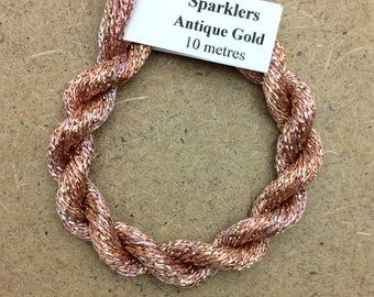 4/167 Viscose Sparkle Chainette with Gold Lurex, No.43 Peach, 10m (11 yards) skein, Embroidery Thread