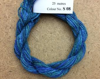 Silk Bourette No.08 Lagoon, Hand Dyed Embroidery Thread, Artisan Thread, Textile Art