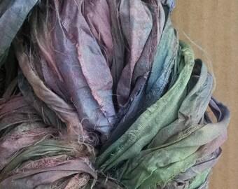 No.53 Spruce, Sari Silk Ribbon Hand Dyed, Silk Ribbon, Wide Silk Ribbon, Artisan Yarn, Exotic Yarn
