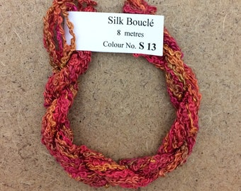 Silk Boucle No.13 Sunset, Hand Dyed Embroidery Thread, Artisan Thread, Textile Art
