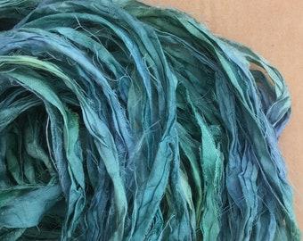 Sari Silk Ribbon Hand Dyed, Silk Ribbon, Wide Silk Ribbon, Artisan Yarn, Exotic Yarn, Colour No.20 Jade