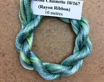 Hand Dyed Viscose Ribbon, Colour No.33 Aquamarine, 10m (11 yards), 10/167 Viscose Ribbon, Rayon Ribbon, Embroidery, Thread, Canvaswork