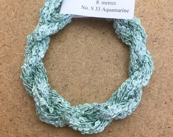 Silk Boucle No.33 Aquamarine, Hand Dyed Embroidery Thread, Artisan Thread, Textile Art