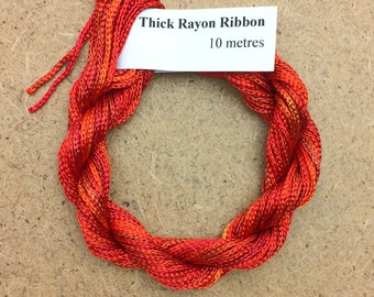 Thick Viscose Ribbon 3/660, Colour No.13 Sunset, Hand Dyed Embroidery Thread, Canvaswork, Needlepoint