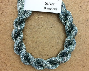 4/167 Viscose Sparkle Chainette with Silver Lurex, No.56 Pebble, 10m (11 yards) skein, Embroidery Thread