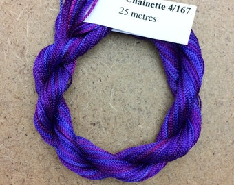 Viscose Chainette 4/167, Colour No.05 Violet, Hand Dyed Thread, Rayon Ribbon, 25 metres
