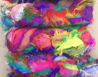 Sari Silk Fuzzy Ribbons, Variegated Sari Fuzzy Ribbon,  Silk Ribbon, Fuzzy Silk Ribbon, Colour - Multicoloured
