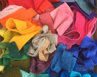 Felt Bits, Hand Dyed Wool and Viscose Felt coloured across the spectrum, Felt Selection, UK Seller, British Supply