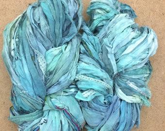Sari Silk Chiffon Ribbon with minimal Lace Inclusions, Hand Dyed Silk Chiffon Ribbon, Sari Ribbon, Aquamarine, ref.3