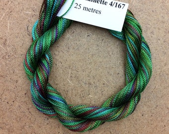 Viscose Chainette 4/167, Colour No.09 Apple, Hand Dyed Thread, Rayon Ribbon, 25 metres