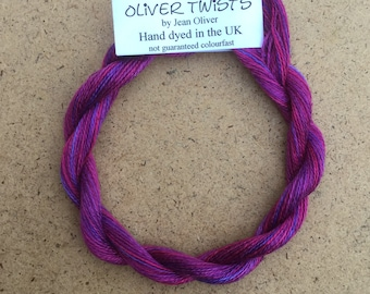Silk 16/2 No.05 Violet, Embroidery Thread, Hand Dyed Embroidery Thread, Artisan Thread, Textile Art