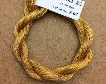 Silk 8/2 No.07 Yellow Ochre, Embroidery Thread, Hand Dyed Embroidery Thread, Artisan Thread, Textile Art