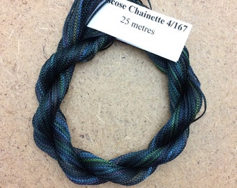 Viscose Chainette 4/167, Colour No.71 Chestnut, Hand Dyed Thread, Rayon Ribbon, 25 metres