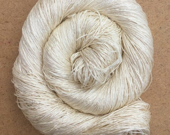 Six Stranded Mulberry Silk Yarn, Spun Silk Yarn, 60/2 Weight Yarn x 6, Cross Stitch, Weaving Yarn, Colour - Ivory, 100g