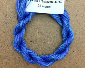 Viscose Chainette 4/167, Colour No.03 Sky, Hand Dyed Thread, Rayon Ribbon, 25 metres
