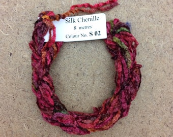 Silk Chenille No.02 Antique Red, Hand Dyed Embroidery Thread, Artisan Thread, Textured Silk Thread