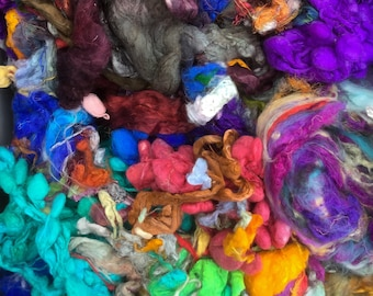 Pot luck Silk Packs, Hand Dyed Silk Fibres, Silk Tops, Throwsters Waste,Silk  Laps, Silk Hankies, Wool, Tri-local Nylon, Tussah Silk
