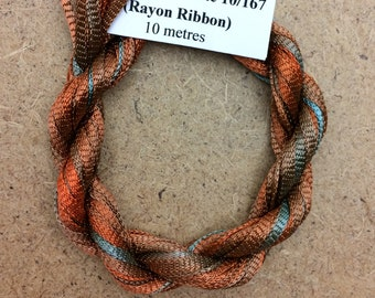 Hand Dyed Viscose Ribbon, Colour No.21 Rust, 10m (11 yards), 10/167 Viscose Ribbon, Rayon Ribbon, Embroidery, Thread, Canvaswork