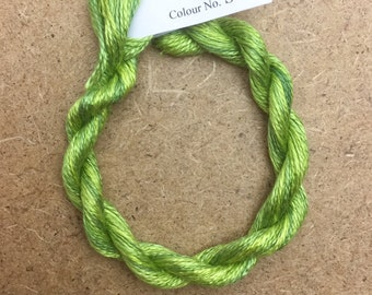Silk 16/2 No.82 Chartreuse, Embroidery Thread, Hand Dyed Embroidery Thread, Artisan Thread, Textile Art