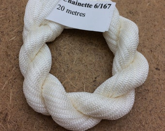 Viscose Chainette 6/167, Neutral, Hand Dyed Thread, Rayon Ribbon, 20 metres