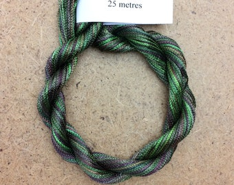 Viscose Chainette 4/167, Colour No.54 Moss, Hand Dyed Thread, Rayon Ribbon, 25 metres