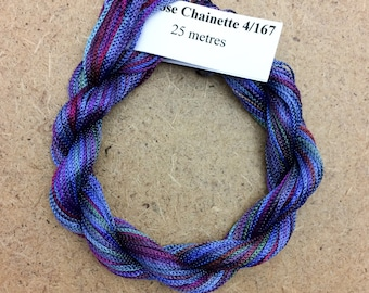 Viscose Chainette 4/167, Hand Dyed Thread, Rayon Ribbon, Colour No.57 Oil Slick, 25 metres