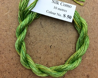 Silk Como, No.50 Lime and Lemon, 10m (11yards) Hand Dyed Embroidery Thread, Artisan Thread, Textile Art