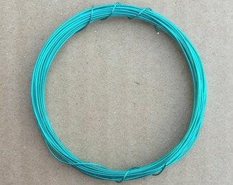 Coloured Copper Wire, Turquoise, 0.5mm, 24 Gauge, 4m (4.3 yards) Metalwork,  Mixed Media, Jewellery making, Turquoise