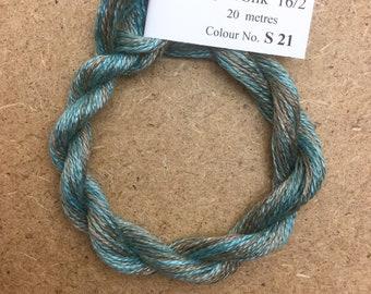 Silk 16/2 No.21 Rust, Embroidery Thread, Hand Dyed Embroidery Thread, Artisan Thread, Textile Art
