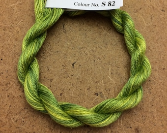 Silk 30/2, No.82 Chartreuse, Embroidery Thread, Hand Dyed Embroidery Thread, Artisan Thread, Textile Art