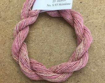Silk Bourette No.93 Skintone, Hand Dyed Embroidery Thread, Artisan Thread, Textile Art