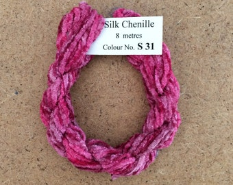 Silk Chenille No.31 Raspberry Sorbet, Hand Dyed Embroidery Thread, Artisan Thread, Textured Silk Thread