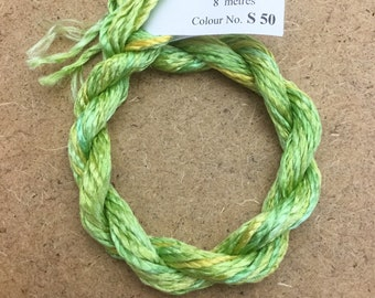 Silk Filament No.50 Lime and Lemon, Embroidery Thread, Hand Dyed Embroidery Thread, Artisan Thread, Textile Art