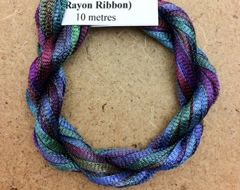 Hand Dyed Viscose Ribbon, Colour No.57 Oil slick, 10m (11 yards), 10/167 Viscose Ribbon, Rayon Ribbon, Embroidery, Thread, Canvaswork