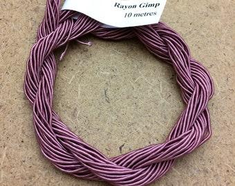Viscose Gimp Thread,  Hand Dyed Gimp, Viscose Gimp, Dusky Pink, 10 metres,