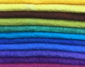 Hand Dyed Wool and Viscose Felt, choose from bright colours across the spectrum