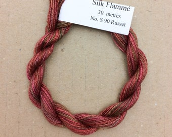 Silk Flamme No.90 Russet, Hand Dyed Embroidery Thread, Artisan Thread, Textile Art