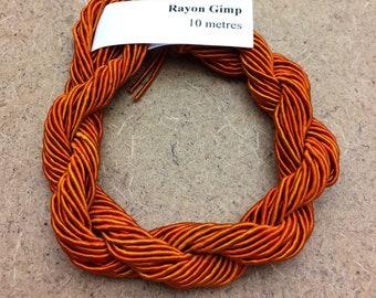 Viscose Gimp Thread,  Hand Dyed Gimp, Viscose Gimp, Amber, 10 metres,